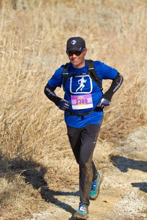 Bill running the Post Oak Challenge 25k trail race March 2013